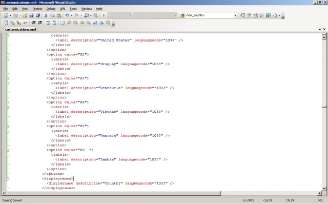 Pasting the XML generated into the Account Customisation XML
