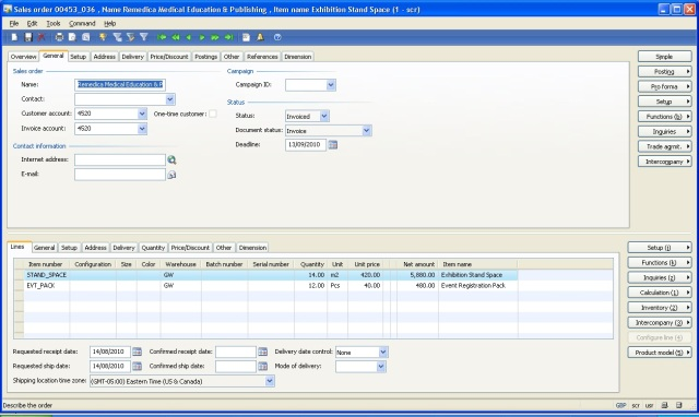 Invoiced Sales Order in AX