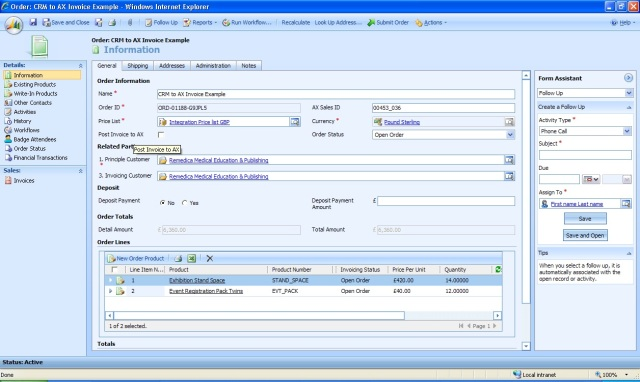 Instruct AX to post an Invoice from an Order in MSCRM